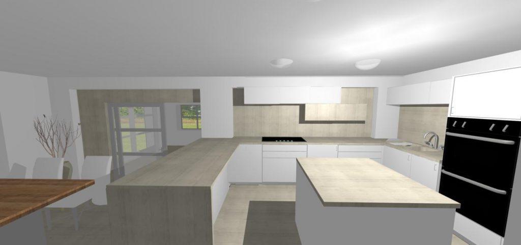 vizualizacia modernej bielo sivej kuchyne