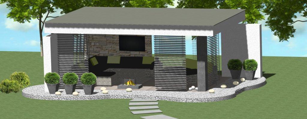 navrh moderneho murovaneho altanku s posuvnymi stenami