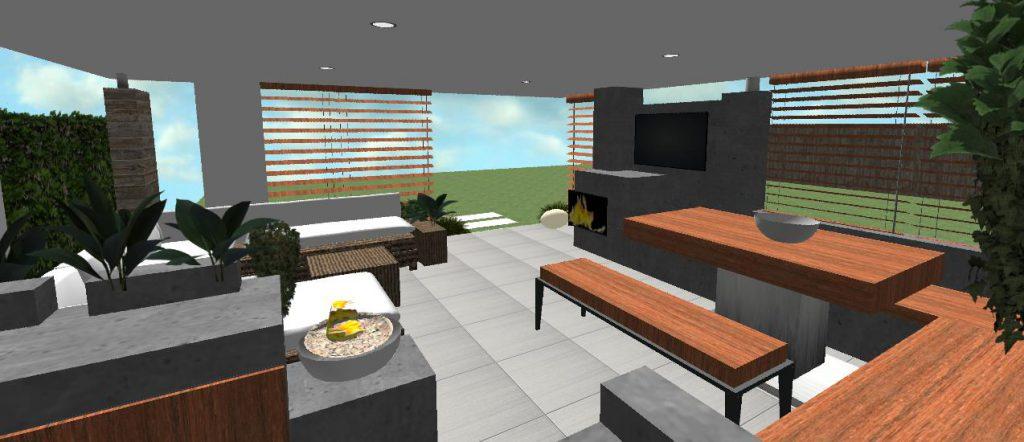 moderny interier moderneho altanku s drevenymi lavicami