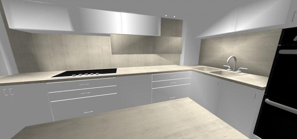 navrh modernej bielo sivej kuchyne