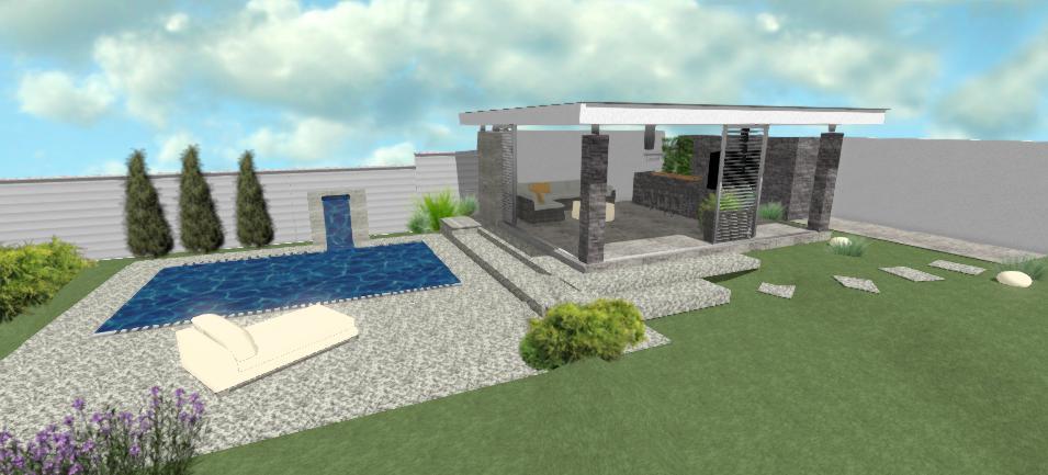 moderny altanok s bazenom