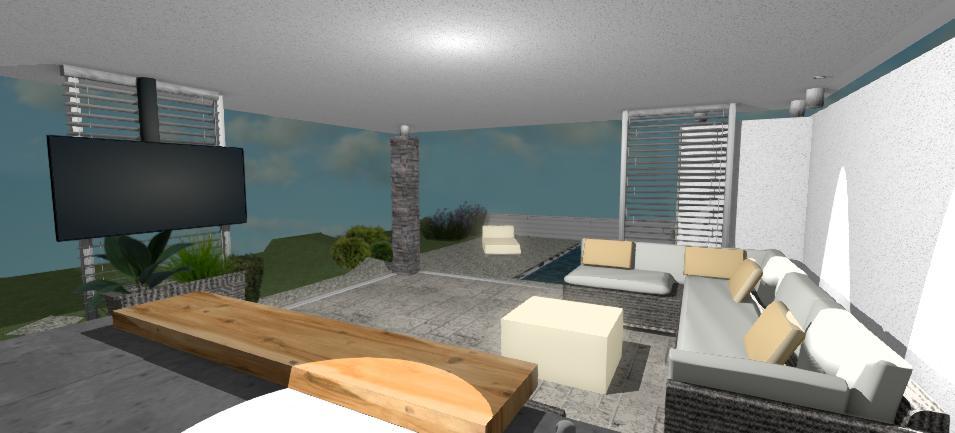 interier moderneho altanku so sivym sedenim