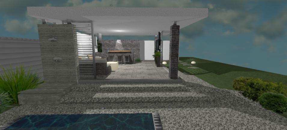 moderny altanok s kamennym obkladom