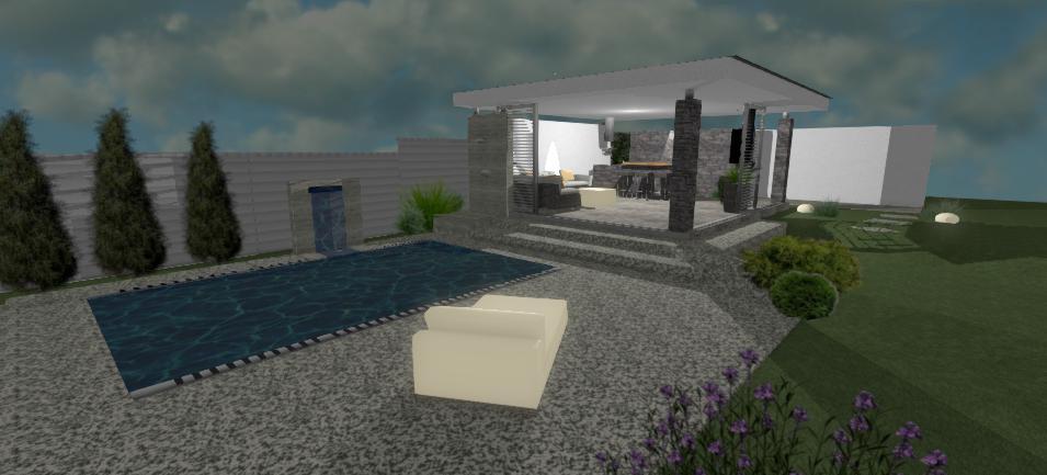 navrh moderneho altanku s napojenim na bazen