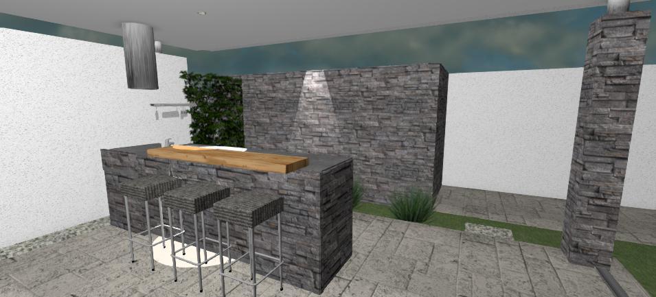 vonkajsia kuchyna s barom v tmavom kamennom obklade a drevenou doskou