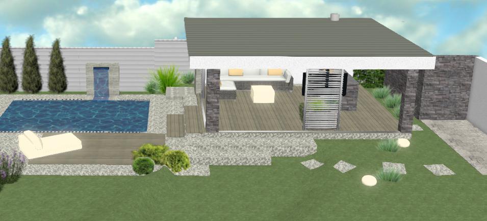 vizualizacia moderneho altanku s drevenyi sivymi terasovymi doskami