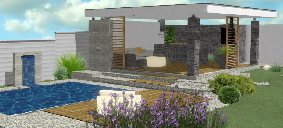 moderny altanok s kamennym oblozenim a terasovymi doskami