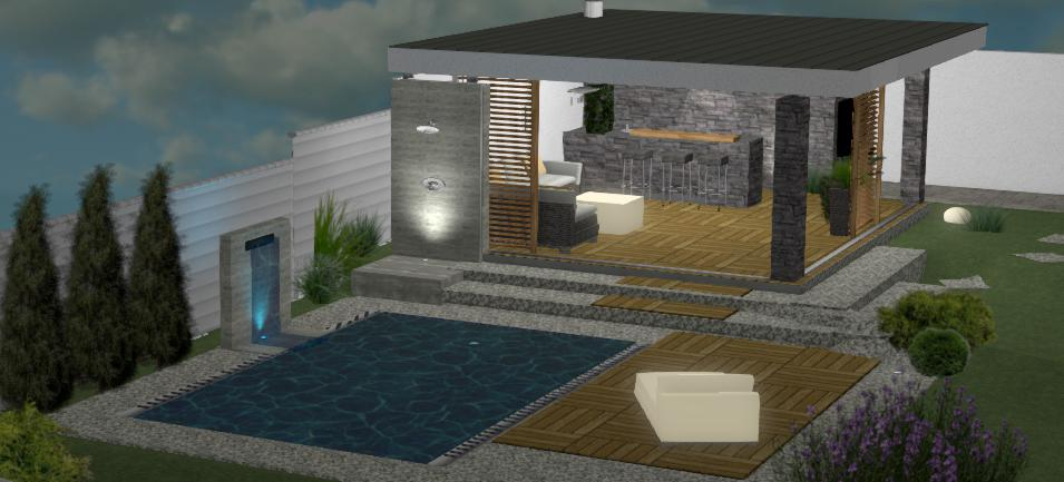 dizajn moderneho altanku s terasovymi doskami pri vecernom osvetleni