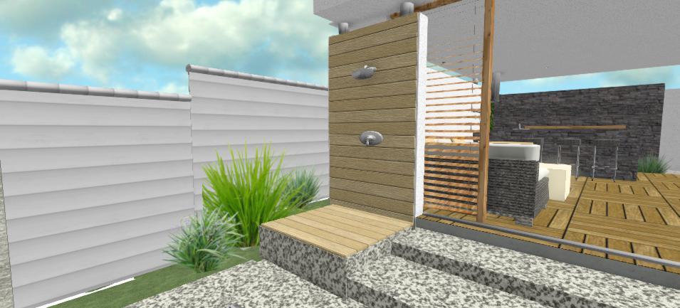 vonkajsia sprcha s celo-drevenym bkladom v strede