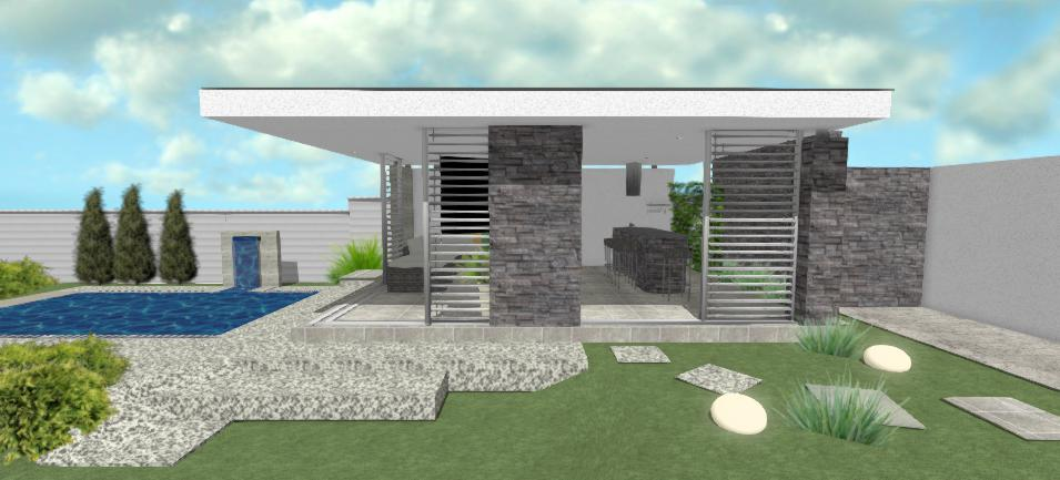 moderny altanok s tmavym kamennym obkladom