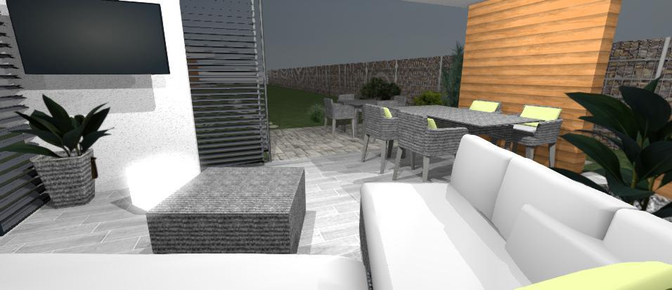pohlad zo sedenia v altanku na jedalensky ratanovy stol a dreveny obklad