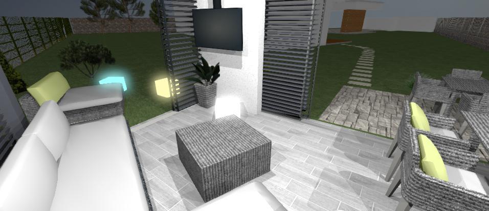 ratanove sedenie a Tv v altanku