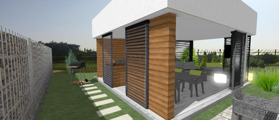 moderny murovany altanok s horizontalnym drevenym oblozenim