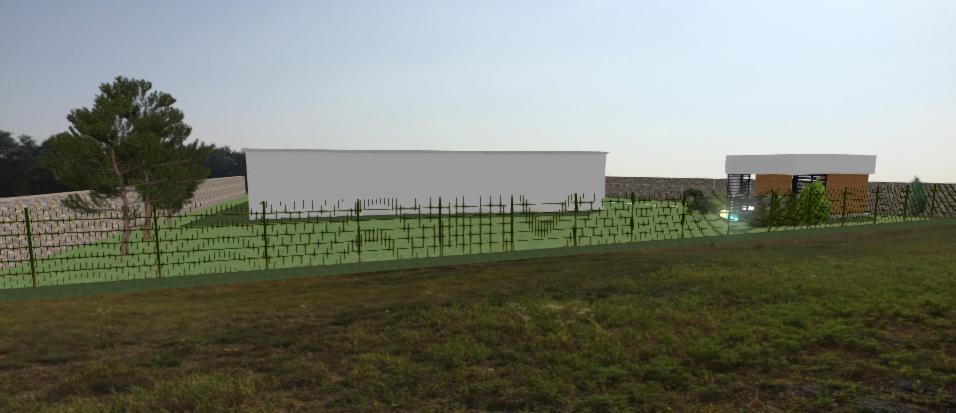 pohlad z golfoveho ihriska na pozemok s modernym domom a altankom
