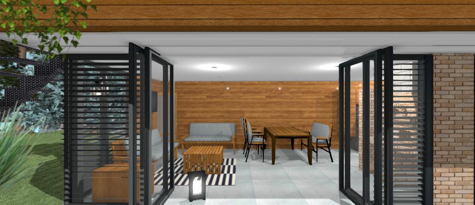 moderny altanok s drevenym obkladom a hlinikovymi antracitovymi dverami