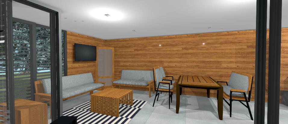interier altanku s drevenym obkladom