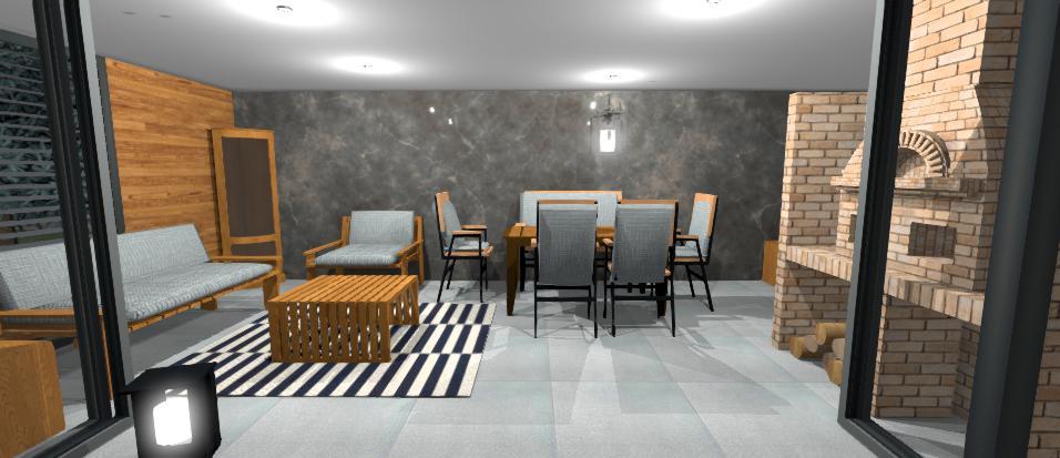 interier moderneho altanku s kamennym obkladom