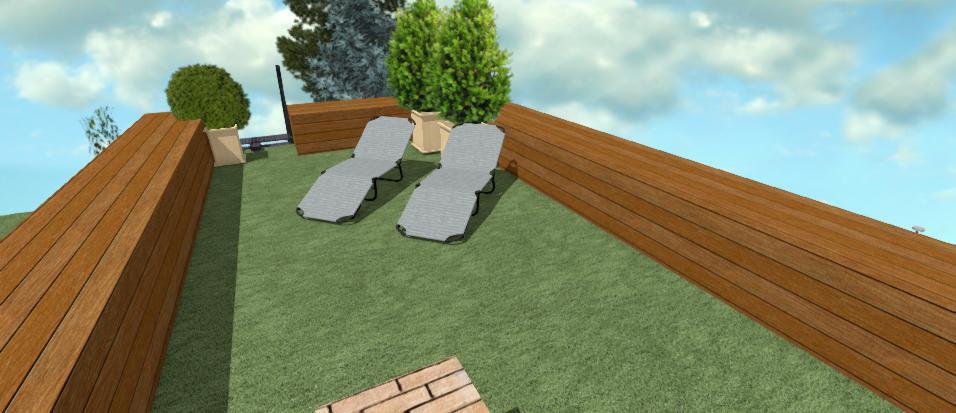 strecha moderneho altanku s travovym kobercom a lehatkami