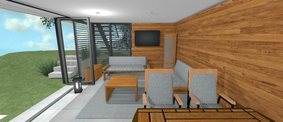 interier altanku s modernym drevenym oblozenim