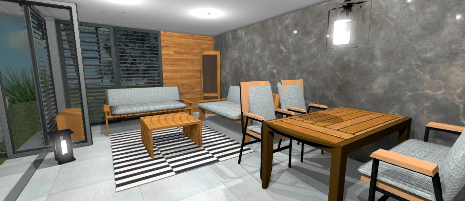 moderny altanok s drevenym nabytkom a celo otvorenymi dverami