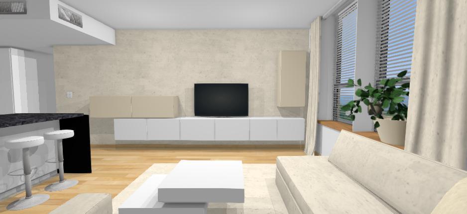 navrh interieru obyvacky s nastennymi bielymi skrinkami