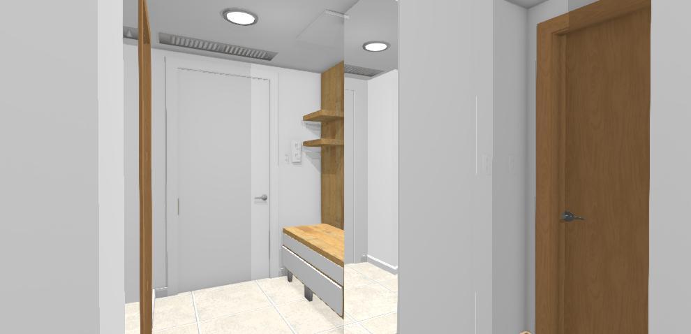 navrh chodby s bielou zrkadlovouskrinou
